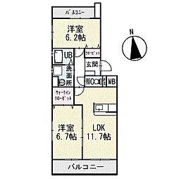 アメニティ大樹寺参号館 4階[402号室]の間取り