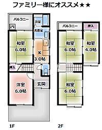 [一戸建] 京都府向日市鶏冠井町沢ノ東 の賃貸【/】の間取り