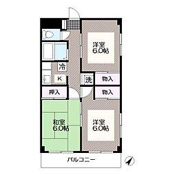 東京メトロ東西線 西葛西駅 徒歩10分の賃貸マンション 2階3Kの間取り