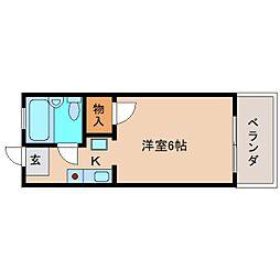 近鉄奈良線 富雄駅 徒歩3分の賃貸アパート 1階ワンルームの間取り