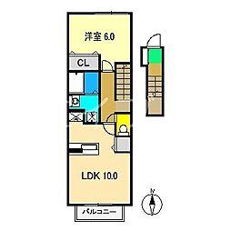 松岡ハイツ A棟[2階]の間取り