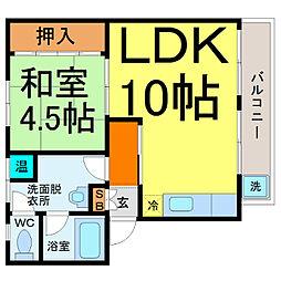 愛知県名古屋市熱田区六番1丁目の賃貸マンションの間取り