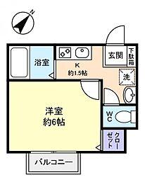 千葉県八千代市勝田台南2丁目の賃貸アパートの間取り