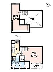 西鉄天神大牟田線 大橋駅 徒歩14分の賃貸アパート 2階1SKの間取り