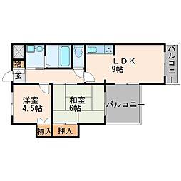 兵庫県尼崎市武庫之荘4丁目の賃貸マンションの間取り