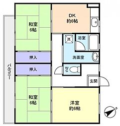 ビレッジハウス古和釜2号棟[3階]の間取り