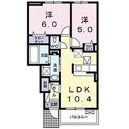 神奈川県平塚市大神の賃貸アパートの間取り