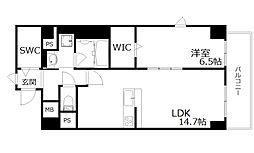 新芦屋ビル 6階1LDKの間取り