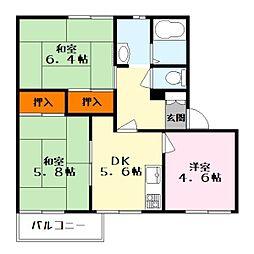 滋賀県栗東市御園の賃貸アパートの間取り