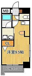 グランドメゾン小倉駅東 5階ワンルームの間取り