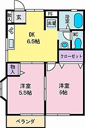 はっぴいランド[102号室]の間取り