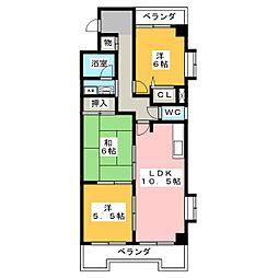 ファミール鶴里[5階]の間取り