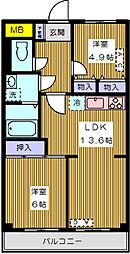 シャンベール六義園[203号室]の間取り