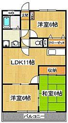 千葉県市川市原木3丁目の賃貸アパートの間取り
