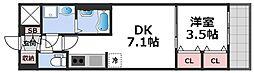 レオンコンフォート天王寺東 10階1DKの間取り