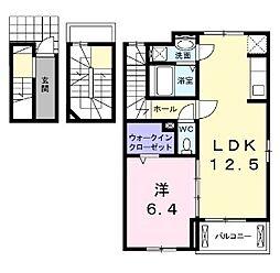 大阪府八尾市本町5丁目の賃貸アパートの間取り