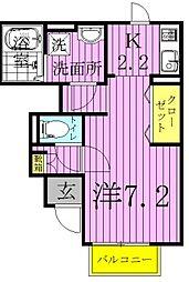 千葉県柏市松葉町3丁目の賃貸アパートの間取り