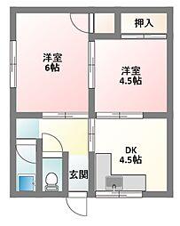 大阪府寝屋川市大利町の賃貸アパートの間取り