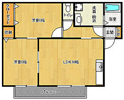 京都府城陽市寺田中大小の賃貸アパートの間取り