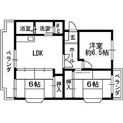 大阪府八尾市山城町3丁目の賃貸マンションの間取り