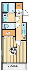 JR中央線 立川駅 徒歩20分の賃貸マンション 5階1Kの間取り