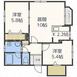 北海道札幌市中央区南十条西11丁目の賃貸マンションの間取り