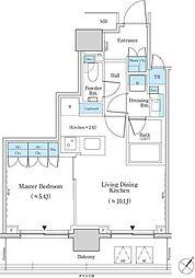 都営新宿線 馬喰横山駅 徒歩4分の賃貸マンション 9階1LDKの間取り