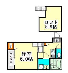 名古屋市営名城線 志賀本通駅 徒歩8分の賃貸アパート 2階1SKの間取り