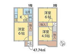 千葉県松戸市五香西の賃貸アパートの間取り