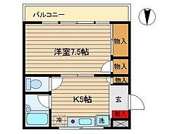 東京都大田区西六郷1丁目の賃貸マンションの間取り
