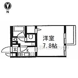京都市営烏丸線 今出川駅 徒歩18分の賃貸マンション 3階1Kの間取り