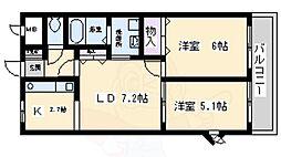 南海高野線 北野田駅 徒歩8分の賃貸アパート 2階2DKの間取り