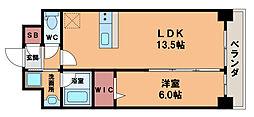 エストヴァリ千扇 2階1LDKの間取り