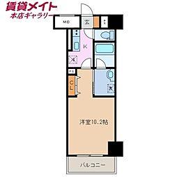 近鉄名古屋線 近鉄四日市駅 徒歩5分の賃貸マンション 3階1Kの間取り
