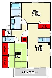 ルタンティールひびきの A棟[2階]の間取り