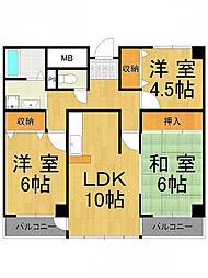 フルール南武庫之荘[2階]の間取り