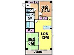 愛媛県松山市松末1丁目の賃貸アパートの間取り