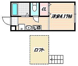 京成本線 京成船橋駅 徒歩24分の賃貸アパート 1階1SKの間取り