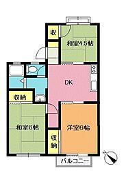 埼玉県北本市本宿3の賃貸アパートの間取り