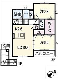 仮)JA賃貸港区十一屋二丁目B[2階]の間取り