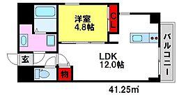 ロジュマンエスト 2階1LDKの間取り