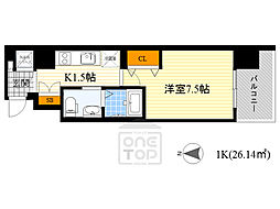 レジュールアッシュ京橋CROSS2 7階1Kの間取り