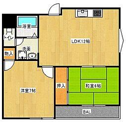 Osaka Metro谷町線 大日駅 徒歩10分の賃貸マンション 2階2LDKの間取り