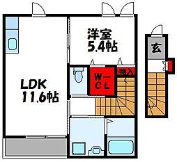 仮称)古賀市中央2丁目アパート[207号室]の間取り