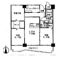 兵庫県相生市赤坂1丁目の賃貸マンションの間取り