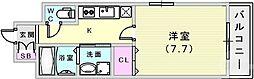 エスリード神戸海岸通 6階1Kの間取り