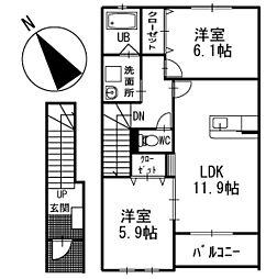 WEST HILLS 2階[202号室]の間取り