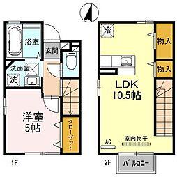 富山県富山市金泉寺の賃貸アパートの間取り
