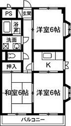 ト—エイマンション[2-D号室]の間取り