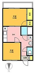 東京都世田谷区経堂4丁目の賃貸マンションの間取り